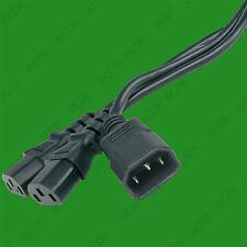 2m IEC C13 Socket to Two IEC C14 Male Plug, Mains Power Splitter Wire Adaptor