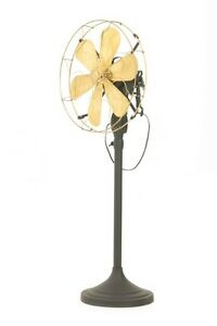 12-034-Blade-Electric-Floor-Stand-Fan-Oscillating-Vintage-Metal-Brass-Antique-style