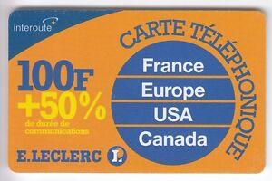 FRANCE-TELECARTE-PHONECARD-PREPAYEE-100F-INTEROUTE-E-LECLERC-50-N