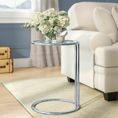 Mia Coffee Table Round Side End Sofa Table Clear Glass Top Chrome Base St19ch C Ebay