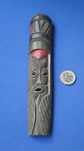 Very-Small-Wooden-Wood-Carved-Rustic-Tribal-Mask-Brown-Shades-Red-Detail