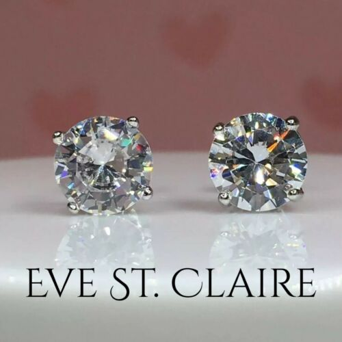 1 CT diamond stud earrings D VVS1 round 14K white gold solitaire gift box 2 3