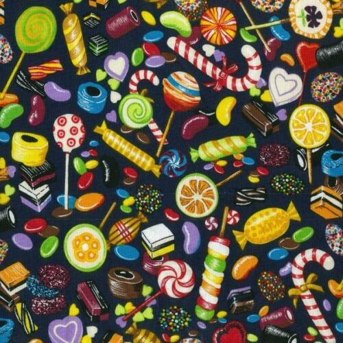 Fat Quarter Candyland Printed 100/% Cotton Quilting Fabric Sweets And Treats