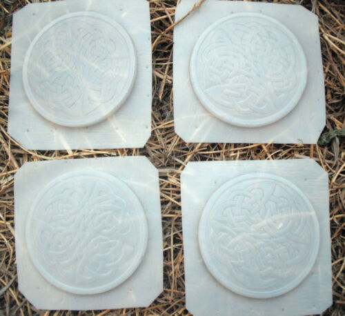 "Set of 4 plastic celtic coaster design molds each 3.75/"" x 1//4/"" thick"
