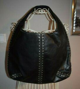 Details zu Original Michael Kors Handtasche Schultertasche Hobobag schwarz Nieten Vintage