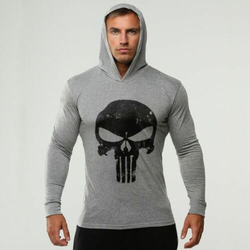 The Punisher Men Gym Thin Shirts Long Sleeve Hoodies Sweatshirt Casual T-Shirt