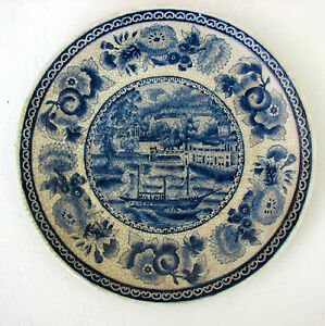 Winterthur-Blue-Ship-Flowers-Decorative-Wall-or-Display-Oriental-Accent-Plate
