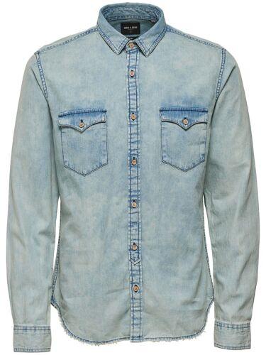 ONLY /& SONS Long Sleeve Fashion Denim Shirt Vintage Light Dark Blue Jean Shirts