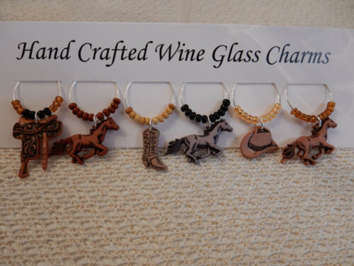 """/""""WESTERN HORSES/""""Set of 6 Hand Crafted Wine Glass Charms Drink Markers"""