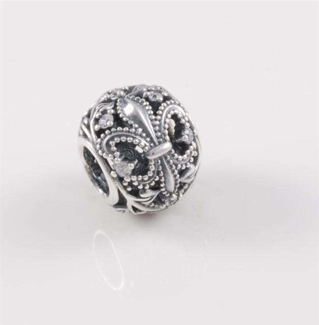 Authentic Genuine Pandora Silver Fleur De Lis Charm Bead  791378CZ