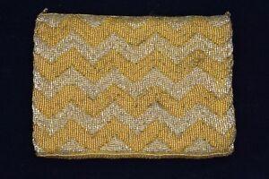 Walborg-NWT-Bag-Clutch-Purse-Heavy-Beaded-Metallic-Gold-Yellow-Vintage-Formal