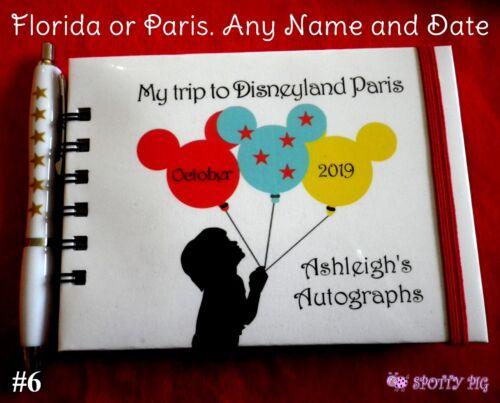 Personalised Autograph Book Disneyland or Disney World Pocket Size