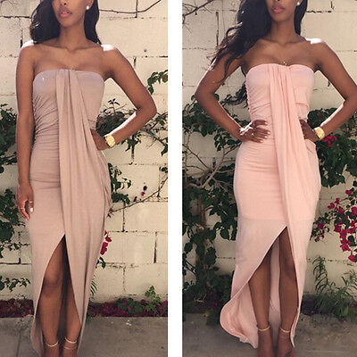 2015 Sexy Women Ladies Strapless Pleated Irregular Club Party Bandage Long Dress