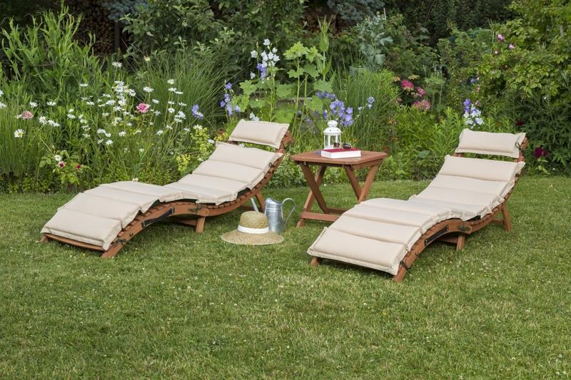 Merxx Gartenliege Ipanema Set Set Set 5-teilig inkl. Wendekissen grün beige mit Hocker d1924a
