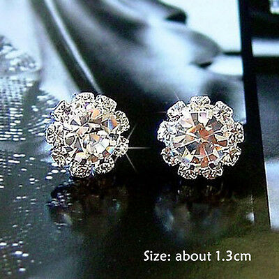 1 Pair Brilliant Sunflower Silver Plated Rhinestone Ear Stud Earrings Jewelry