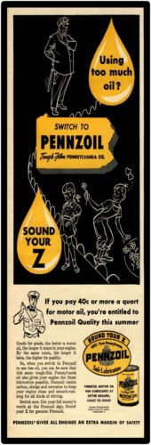 "Pennzoil New Marquee Style Metal Sign 6/""x18/"" Sound Your Z!"