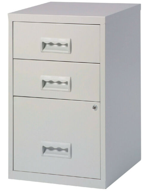 47322843c05 3 Drawer A4 Filing Cabinet - 660H x 400W x 400D mm - colour Grey