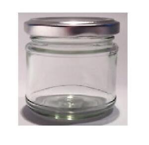 50-X-30ml-small-1oz-28g-MINI-GLASS-JARS-SILVER-LIDS-Jam-WEDDING-FAVOURS-HAMPERS