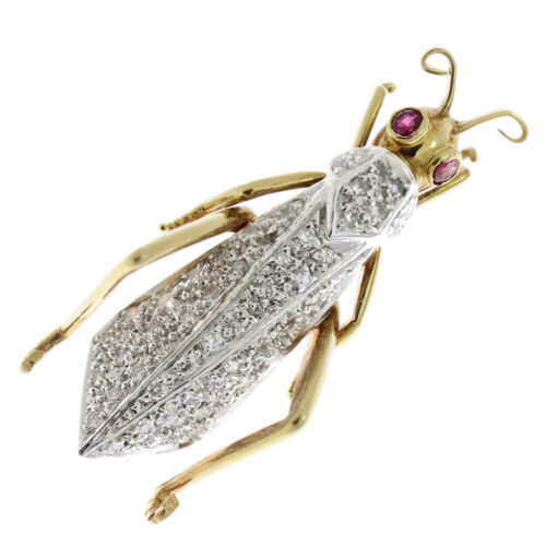Beauty grasshopper insect insect brooch K18YG K18W