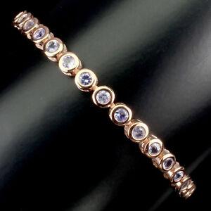 Unbeheizten-Runden-Blau-Tansanit-3mm-Natur-925-Sterling-Silber-Armband-10-cm