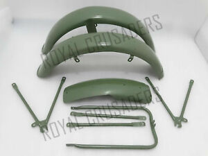MATCHLESS G3L AJS 16M MILITARY MODEL GREEN PAINTED MUDGUARD SET & STAYS