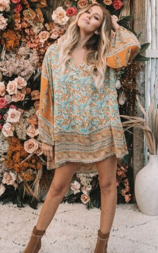 Spell & The Gypsy Delirium Smock Mini Dress Gold M