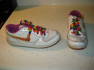 Nike White Rainbow Youth Girls Shoes Size 5.5Y