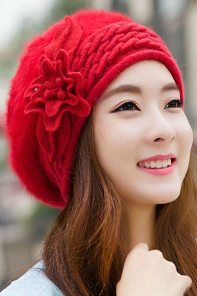 Charitable Fleur Femme Hiver Tricot Crochet Slouch Baggy Bonnet Crochet Ski Cap Beret Une Grande VariéTé De ModèLes