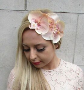 Image is loading Peach-Gold-Orchid-Flower-Fascinator-Headband-Races- Headpiece- b9d93782331