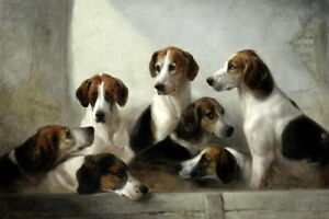 Home-Decor-Print-Loyal-Hound-Dogs-Oil-painting-Art-Giclee-Printed-on-Canvas-P951