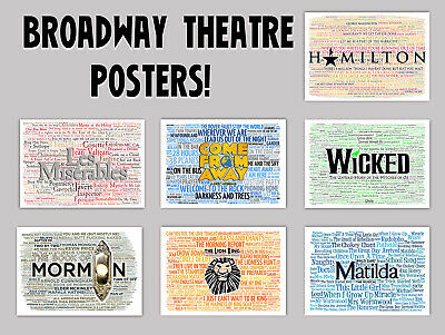 Broadway Musical Posters Hamilton Wicked Matilda Quotes Lyrics Wall Art Ebay