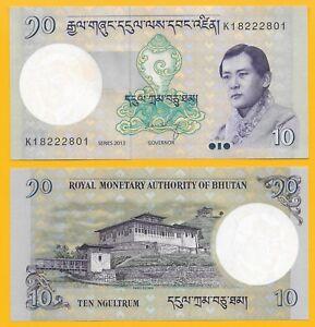 BHUTAN 10  NGULTRUM  2013    P 29 NEW LOT 3 PCS  Uncirculated Banknotes