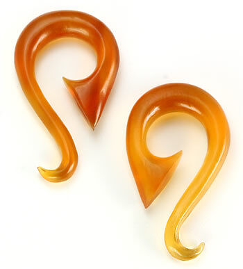 Price Per 1 Elementals Organics Golden Horn Blade Spiral Hanger Earrings Body Jewelry 6g 00g