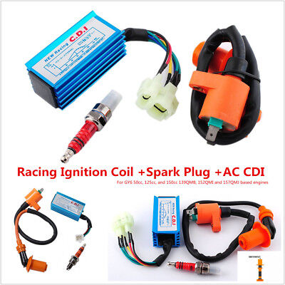 Racing Ignition Coil Spark Plug A7TC CDI GY6 50cc 125cc 150cc for 4-stroke Engines Scooter ATV Go Kart Moped Quad Pit Dirt Bike Cart