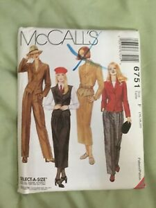 Vintage-McCall-s-sewing-pattern-6751-Size-F-16-20-Pleated-pants-and-skirt