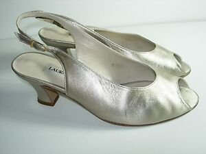 WOMENS-GOLD-LEATHER-PEEP-TOE-SLINGBACK-HEELS-PUMPS-EVENING-SHOES-SIZE-7-5-M