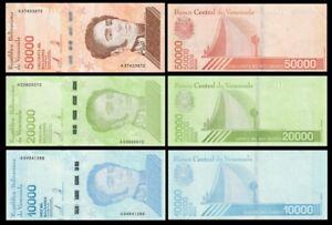VENEZUELA-SET-3-Pcs-10000-20000-50000-BOLIVARES-SOBERANO-2019-NEW-UNC