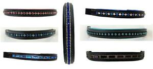 7-Assrt-Show-Bling-Brow-Band-for-English-Bridle-COB-BLACK-Teal-Pink-Purple-Blue
