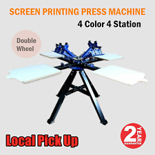 Local Pick Up 4 Color 4 Station Double Wheel Silk Screen Printing Press Machine
