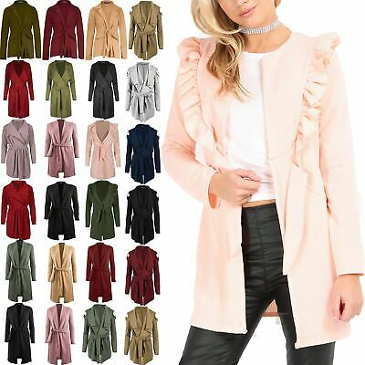 Gutherzig Womens Peplum Frill Waterfall Italian Blazers Ladies Belted Cape Cardigan Jacket Zu Verkaufen