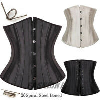 Classic lace-up 26 Spiral Steel Boned Underbust Waist Training Corset Waspie UK