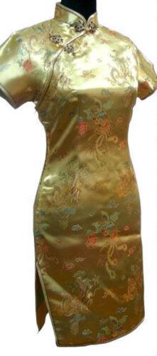 UK Gold Dragon /& Phoenix Chinese Short Evening Party Dress Cheongsam fast post