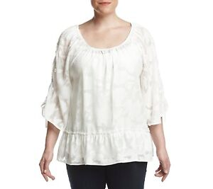 25bdc24ee59 NEW Democracy Plus Size Layered Cami Sheer Tie Sleeve Peasant Blouse ...