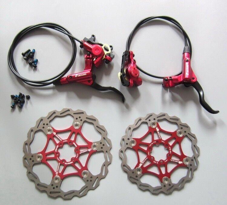 Pinzas de frenos hidráulicos de disco delantero Trasero Set Palanca de Freno 160 180 203 rojoor Rojo