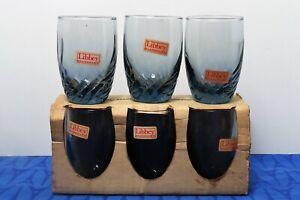 LOT-6-NEW-Libbey-TIARA-Bleu-Blue-Optic-Swirl-3-5-034-Glasses-TEXACO-Starburst-Bonus