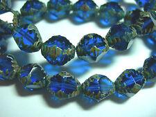 15 10x8mm Czech Glass Capri Blue Picasso Bicone Beads