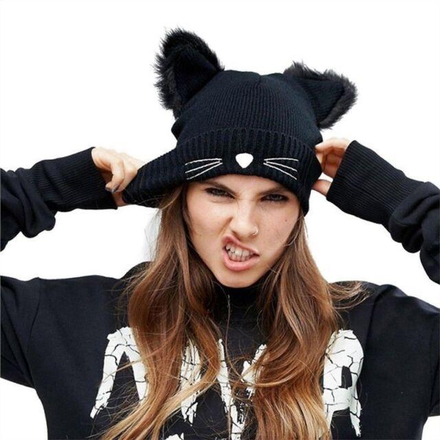 c1c17f2c Womens Winter Beanie Devil Horns Cat Ear Crochet Braided Knit Ski Wool Cap  Hat