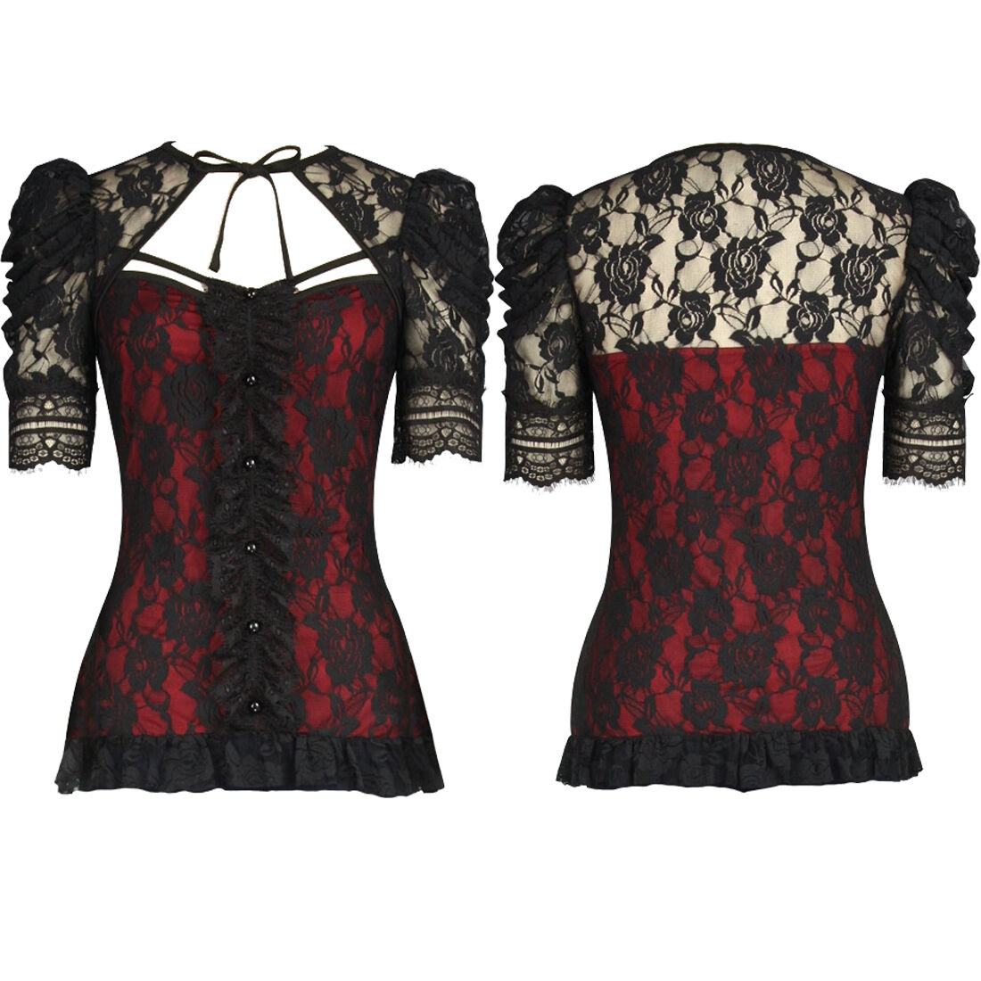 Red Steampunk Gothic Victorian Retro gathered Top Blouse with tie back 8 to 30