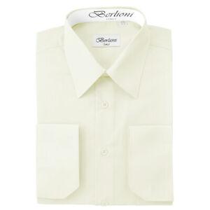 Berlioni-Italy-Men-039-s-Convertible-Cuff-Solid-Italian-French-Dress-Shirt-Off-White