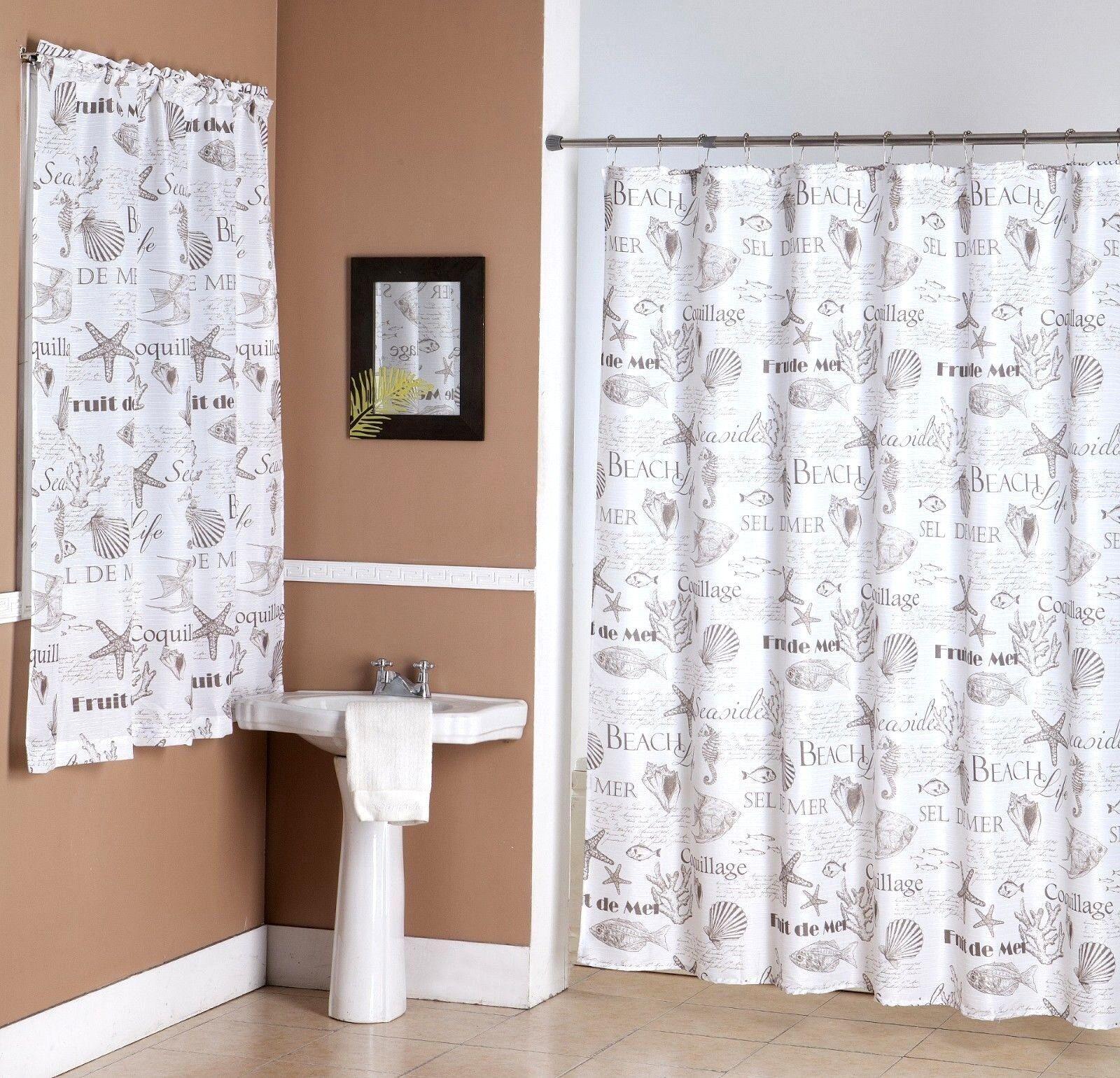 14pc Ocean Shells Starfish Sea Set Fabric Bathroom Window Shower Curtain Hooks